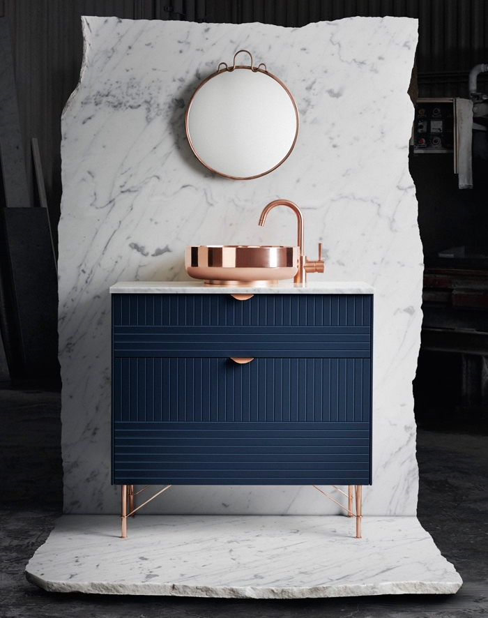 Copper and Blue Bathroom